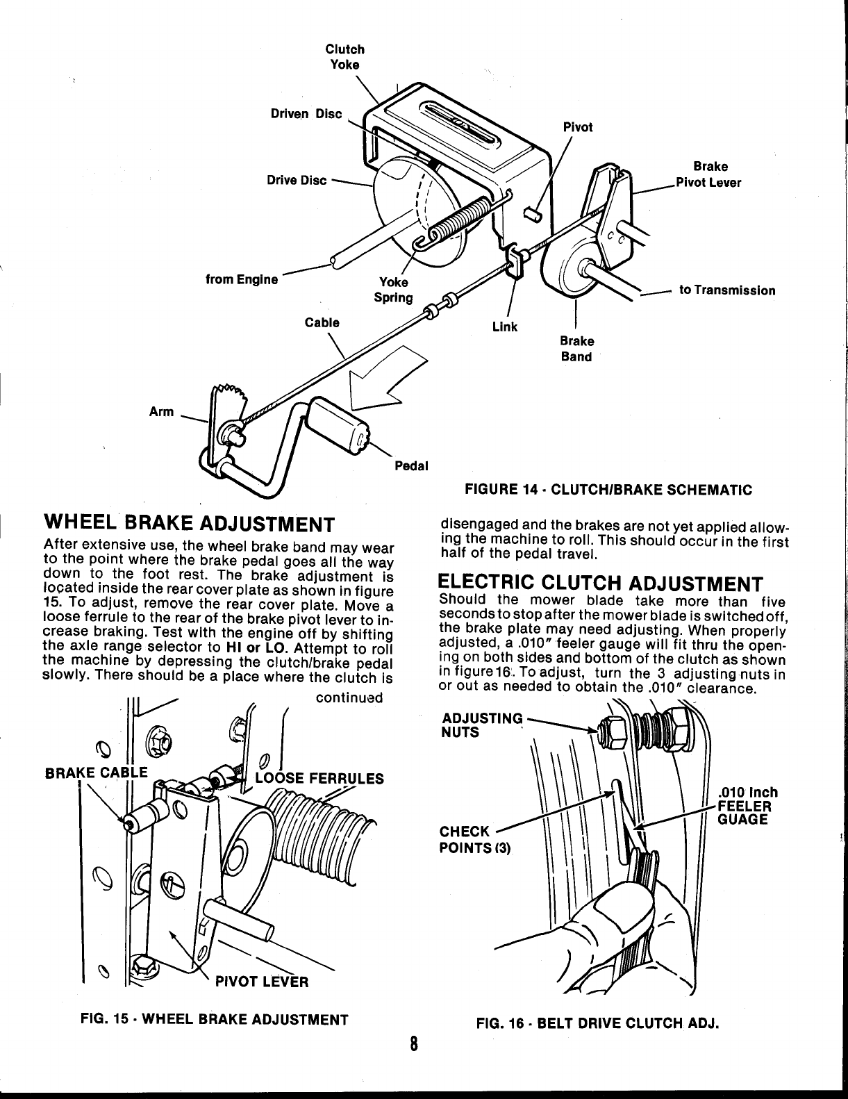 Page 8 of Snapper Lawn Mower LT16 User Guide