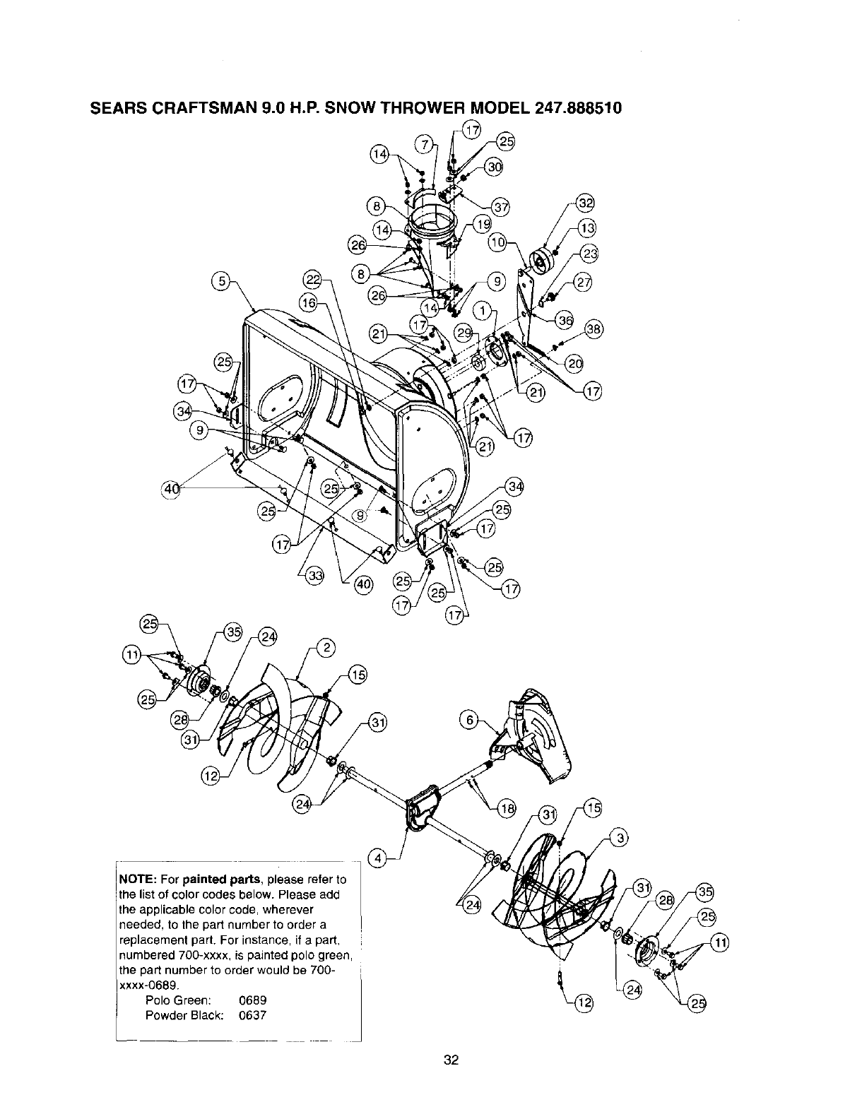 Page 32 of Craftsman Snow Blower 247.88851 User Guide