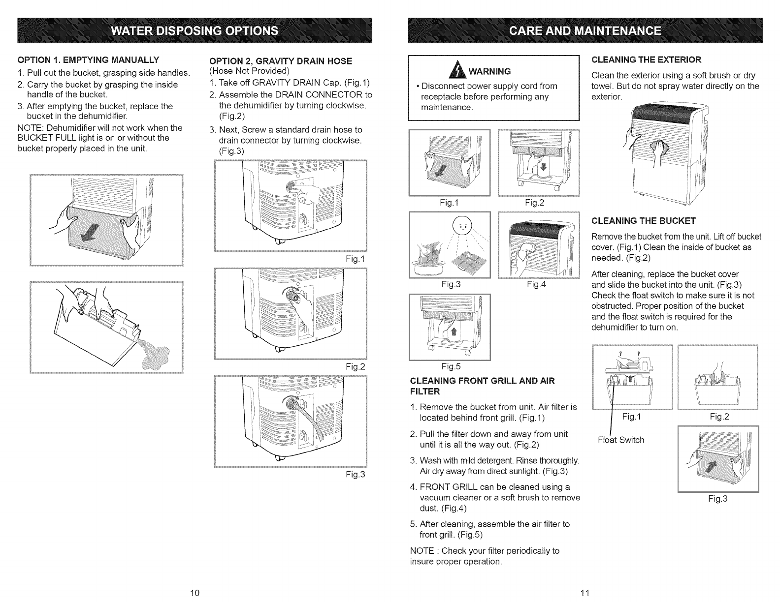 Page 6 of Kenmore Dehumidifier 251.50351 User Guide
