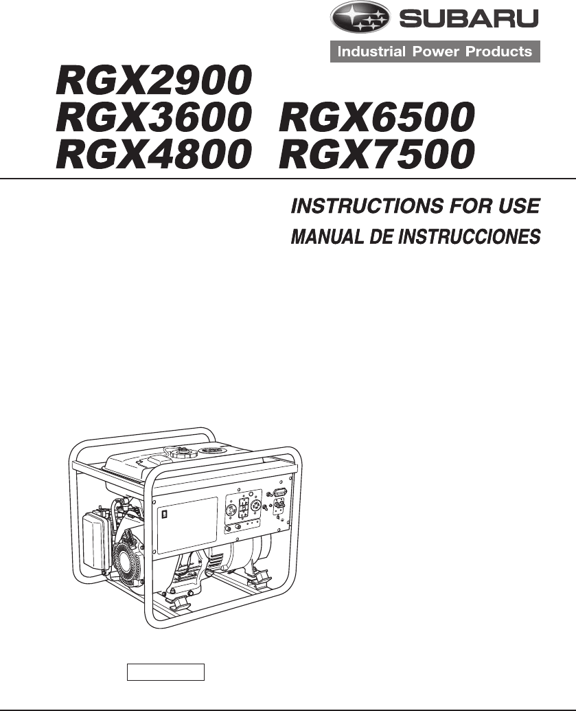 Subaru Portable Generator RGX7500 User Guide