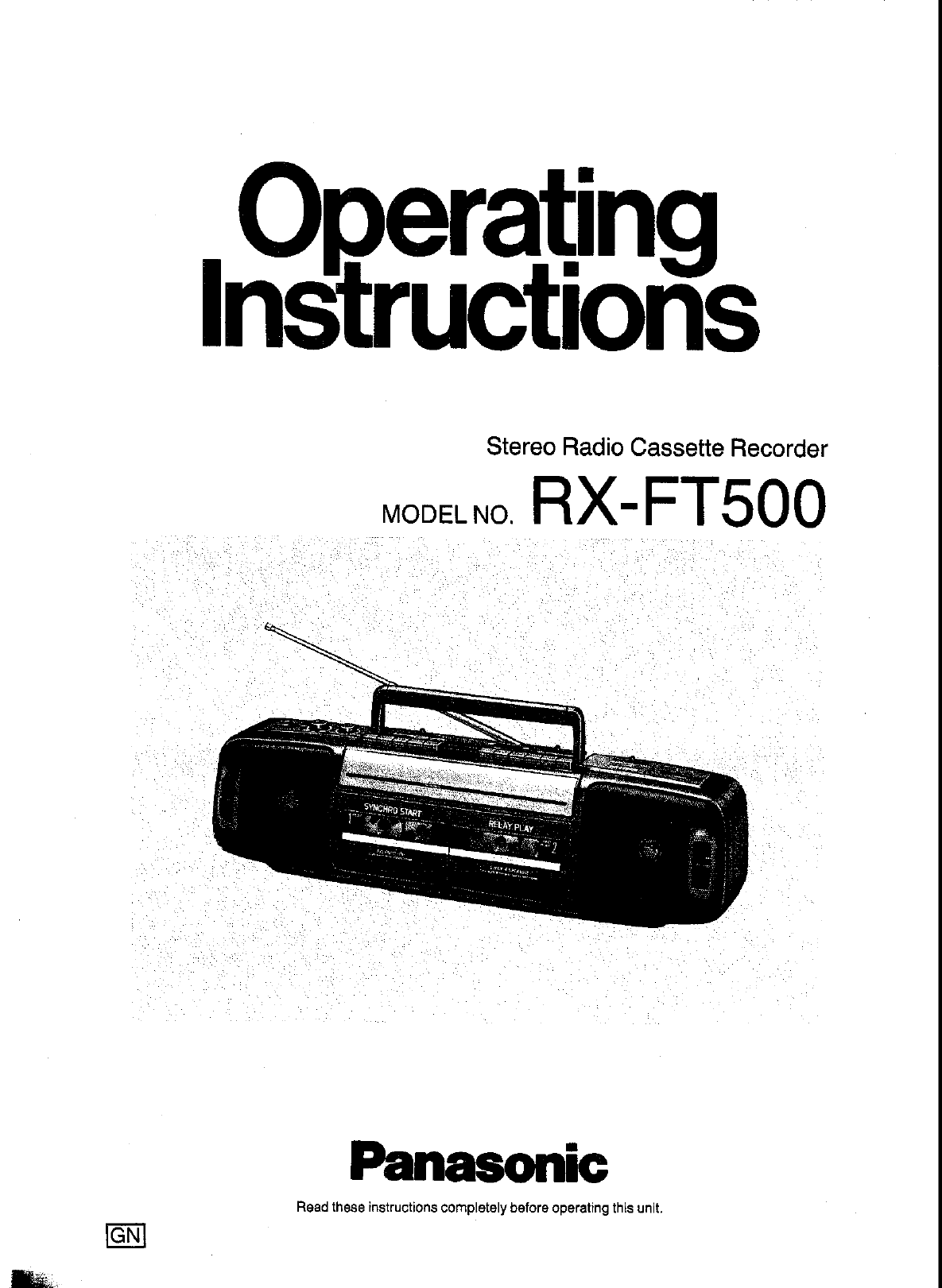 Panasonic Microcassette Recorder RX-FT500 User Guide