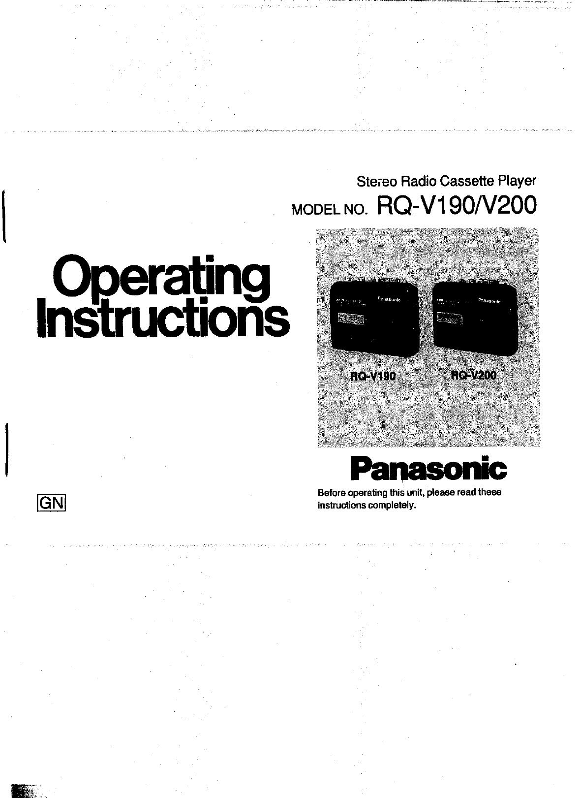 Panasonic Cassette Player RQ-V200 User Guide