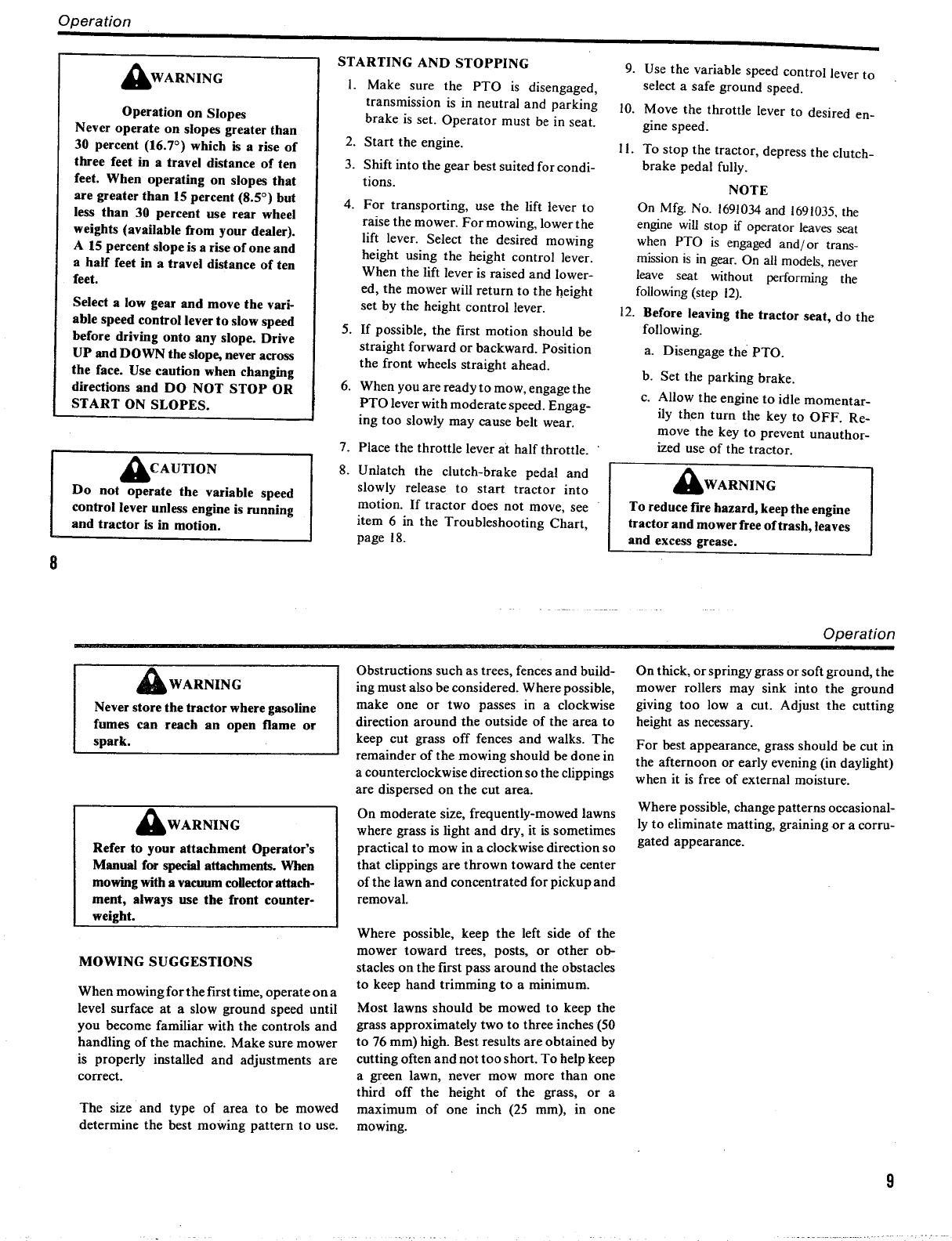 Page 6 of Simplicity Lawn Mower 6216 User Guide