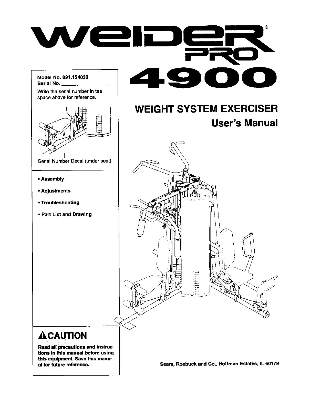 Sears Fitness Equipment 831.15403 User Guide
