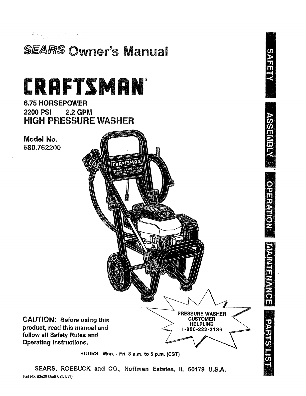 Craftsman Pressure Washer 580.7622 User Guide