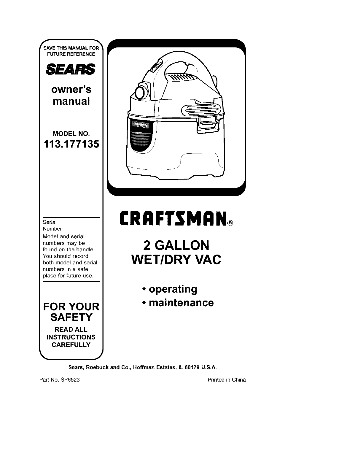 Craftsman Vacuum Cleaner 113.177135 User Guide