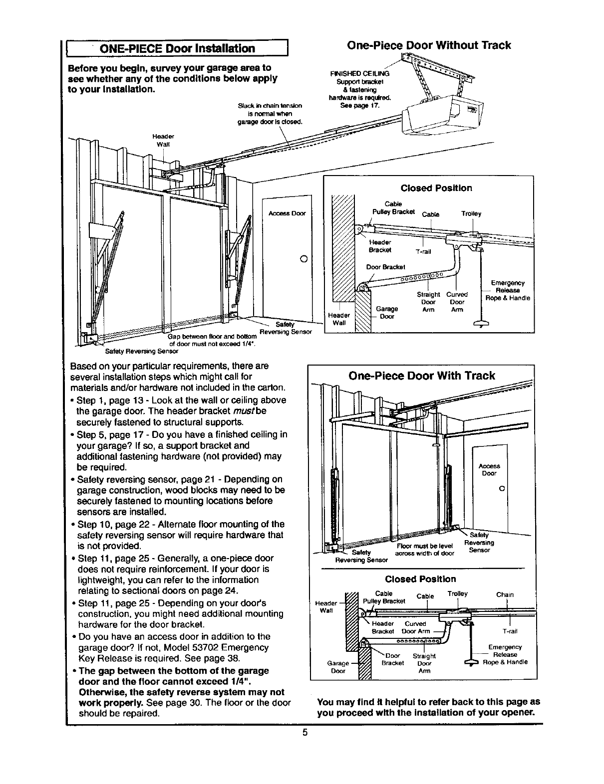 Page 5 of Craftsman Garage Door Opener 139.53660SRT1 User