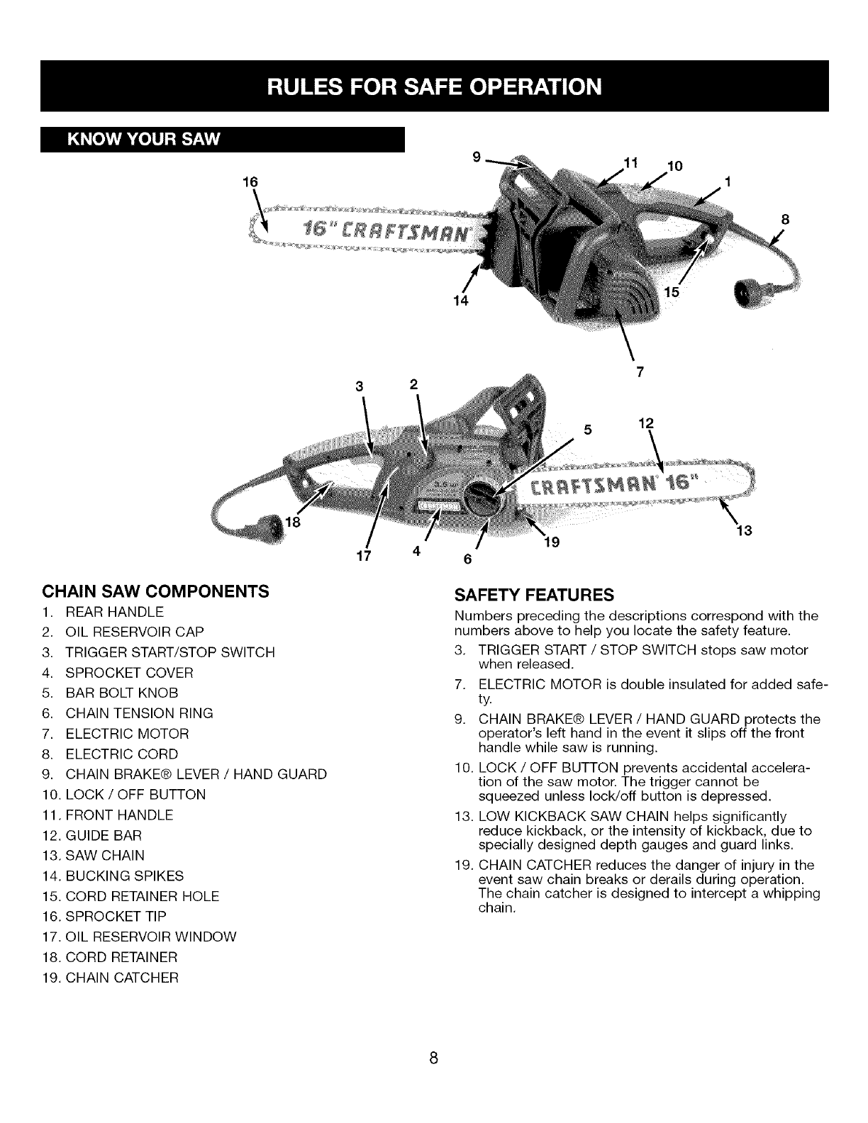 Page 8 of Craftsman Chainsaw 316.34107 User Guide