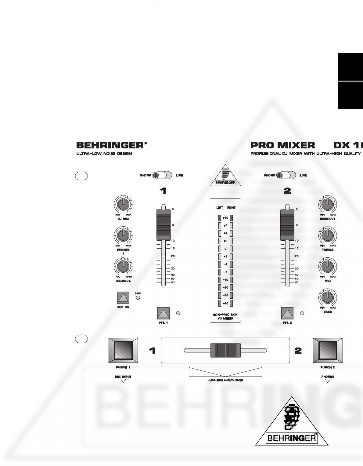 Behringer Musical Instrument DX100 User Guide