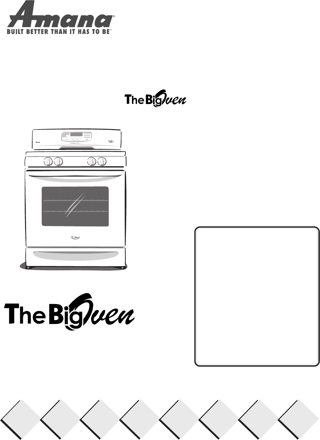 Amana Oven The Big Oven Gas Range User Guide