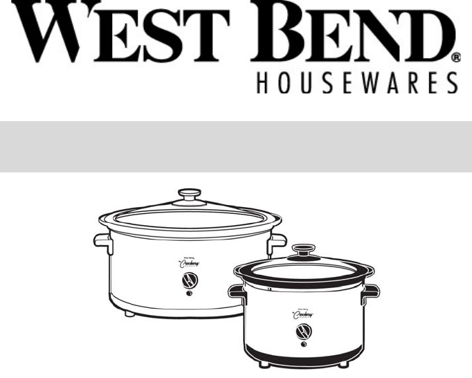 West Bend Slow Cooker Instruction Manual