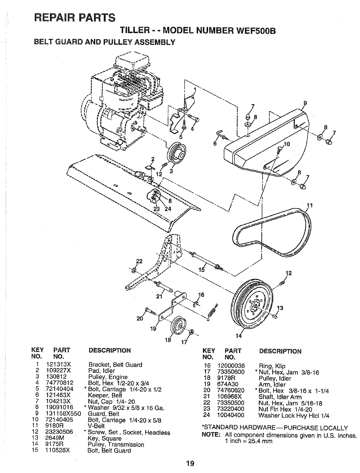 Page 19 of Weed Eater Tiller WEF500B User Guide