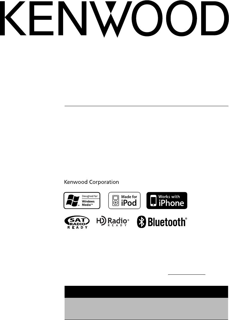 Kenwood Car Stereo System KDC-BT742U User Guide