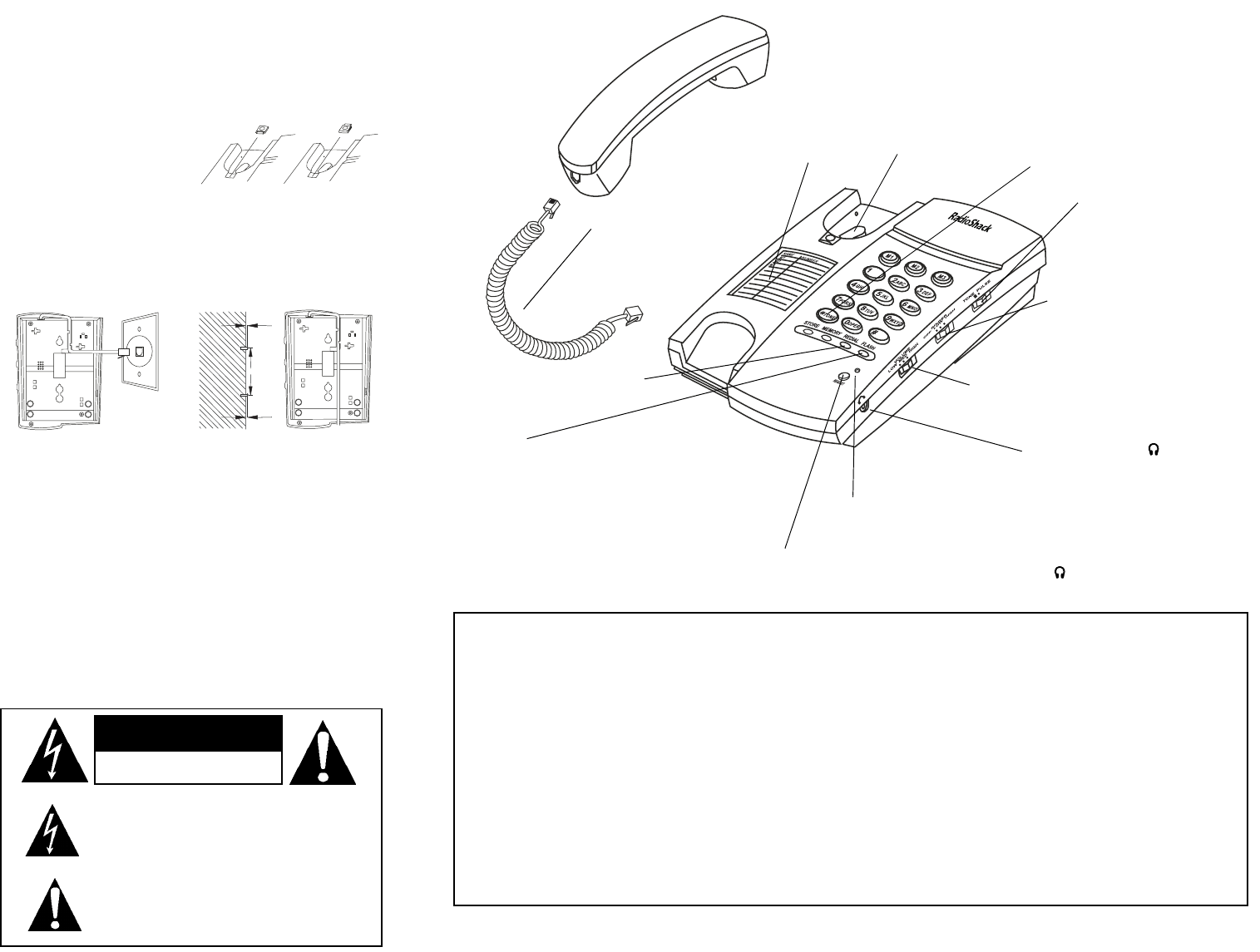 Page 2 of Radio Shack Telephone 43-1301 User Guide