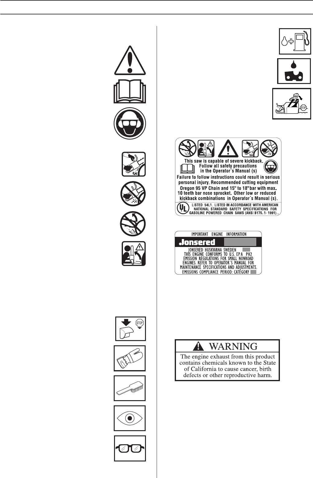 Page 2 of Jonsered Chainsaw CS 2145 User Guide