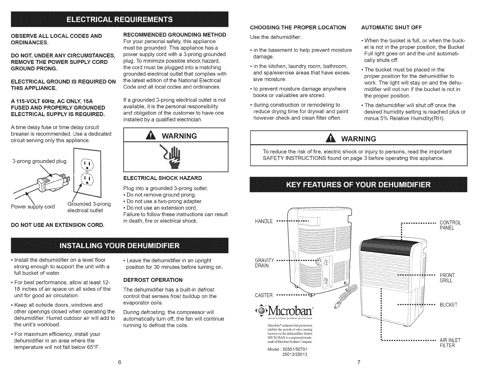 Page 4 of Kenmore Dehumidifier 251.50501 User Guide