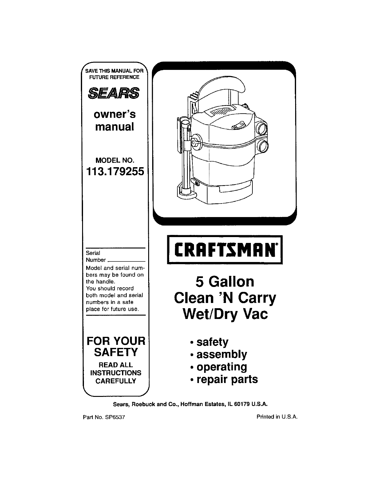 Craftsman Vacuum Cleaner 113.179255 User Guide