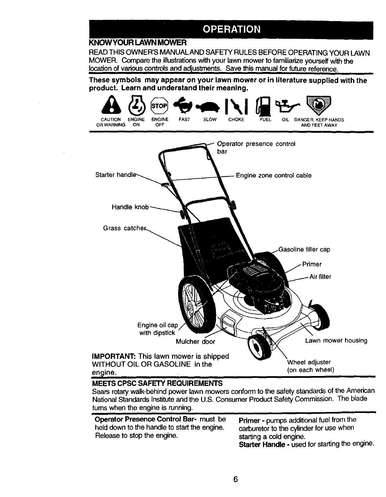 Page 6 of Craftsman Lawn Mower 917.38841 User Guide