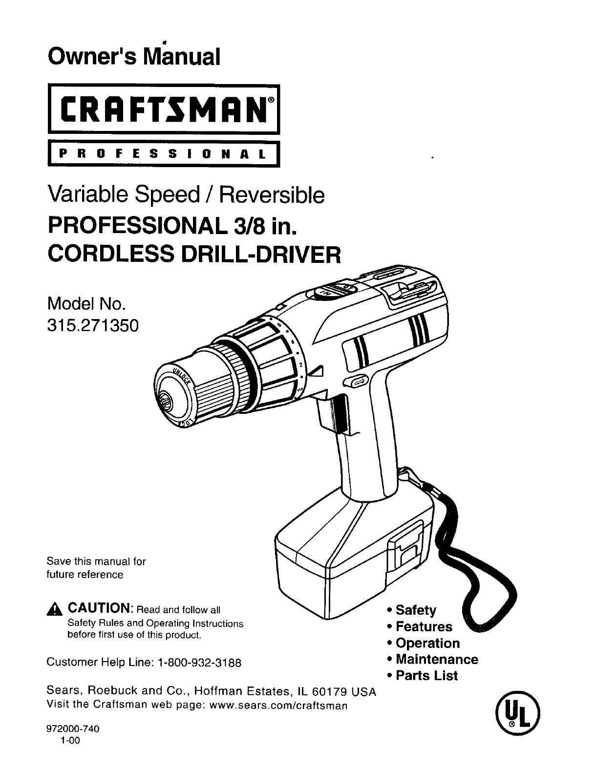 Craftsman Cordless Drill 315.27135 User Guide