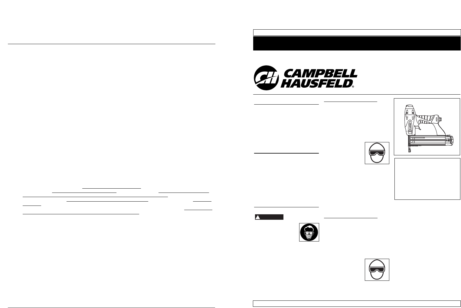 Campbell Hausfeld Nail Gun CHN102 User Guide