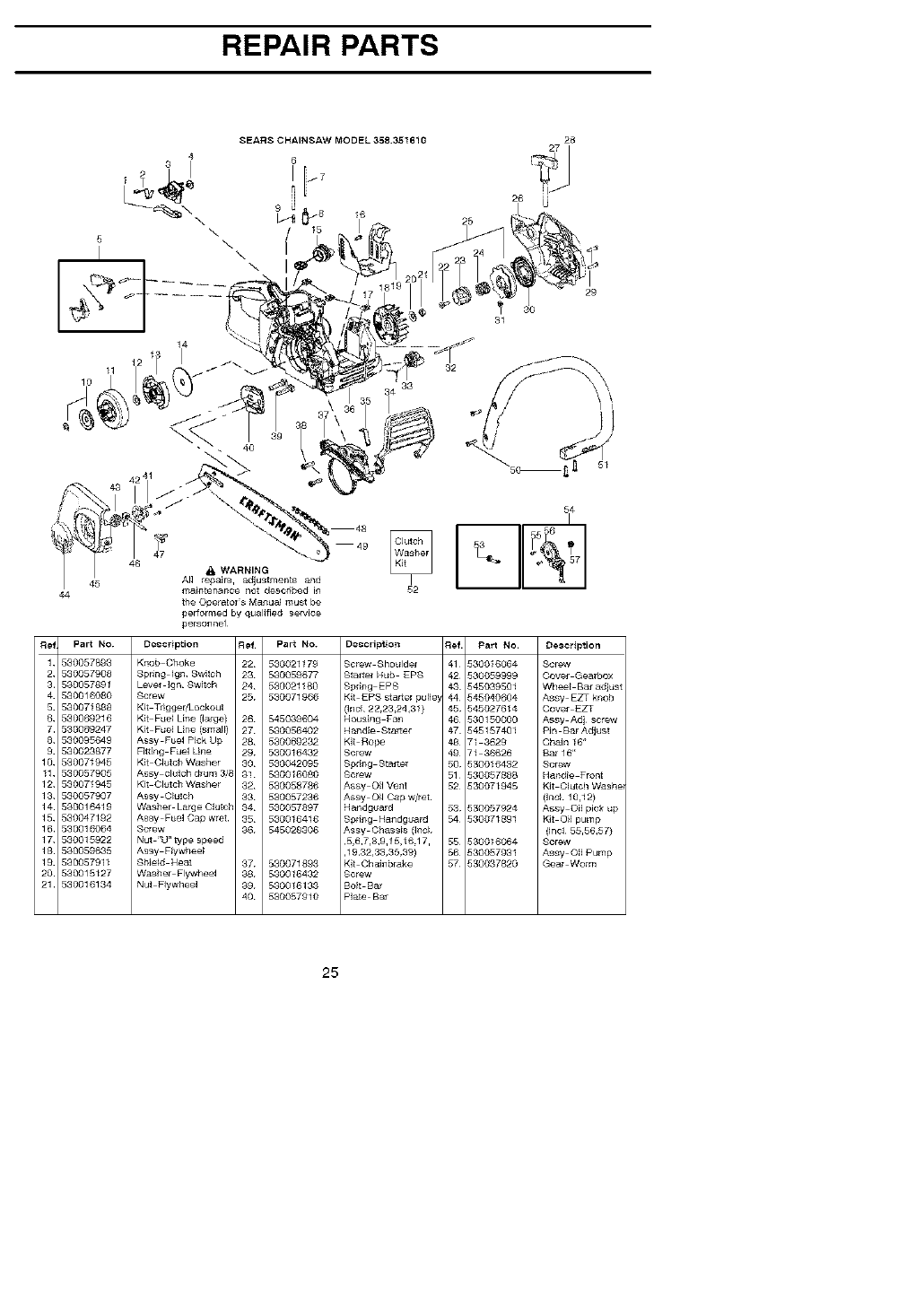 Page 25 of Craftsman Chainsaw 358.35161 User Guide