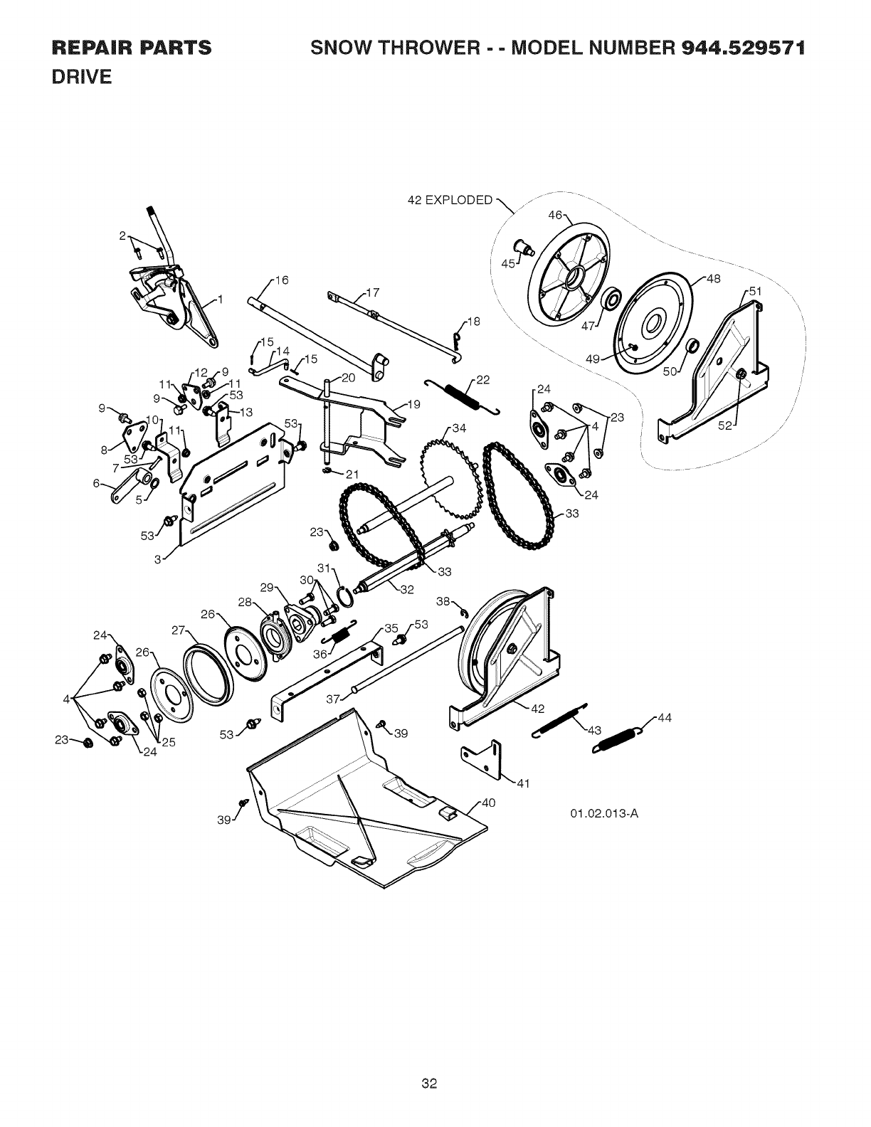 Page 32 of Sears Snow Blower 944.529571 User Guide