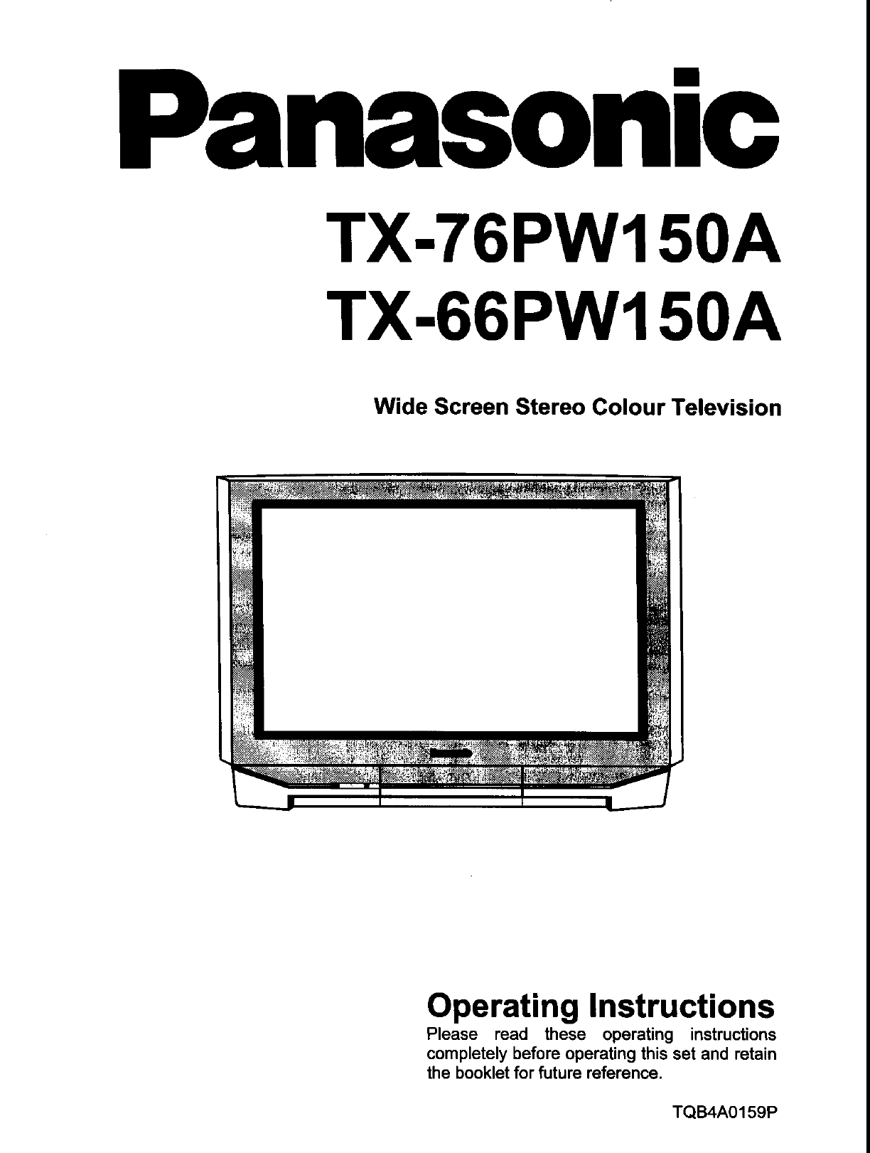 Panasonic CRT Television TX-76PW150A User Guide