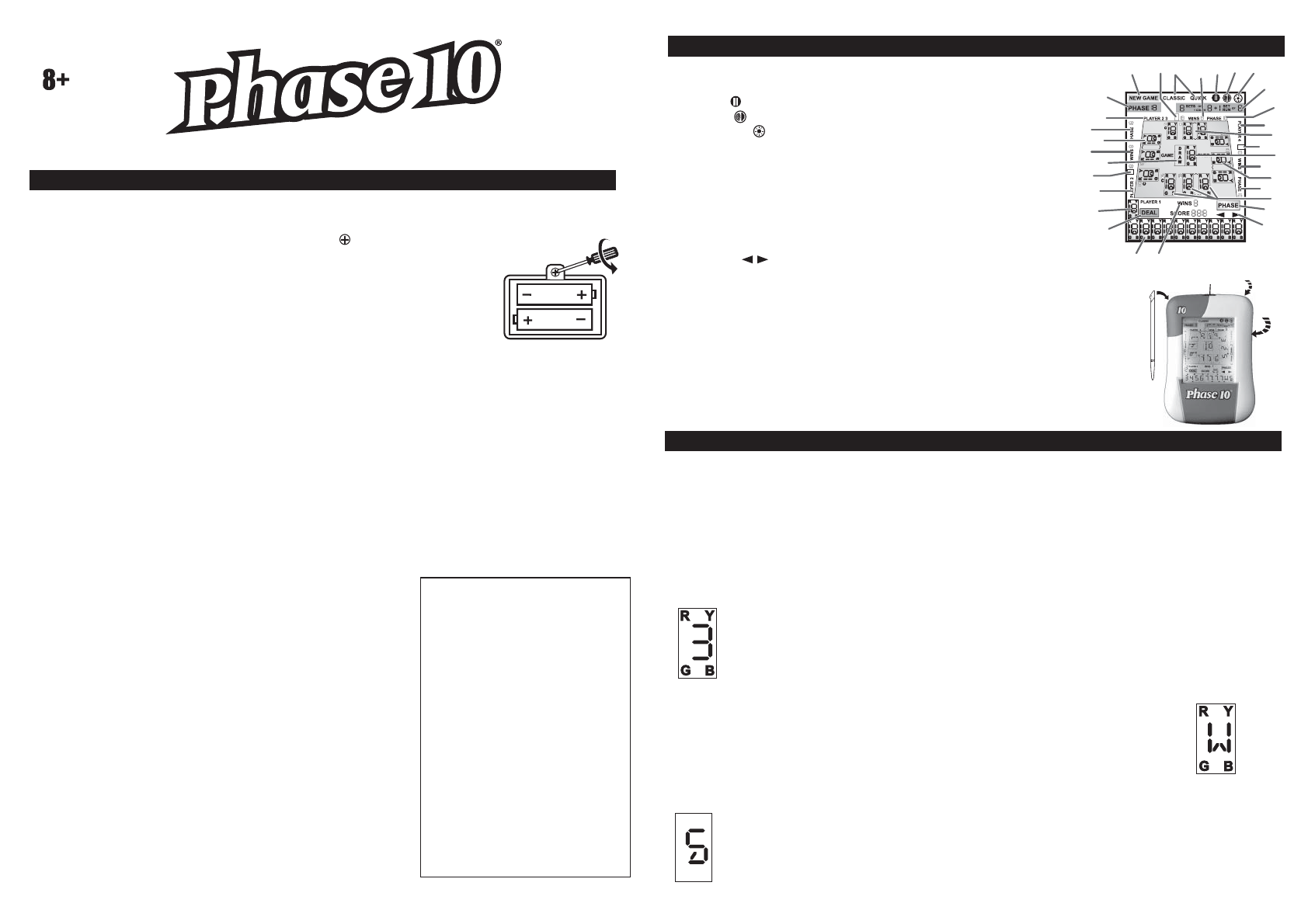 Techno Source Handheld Game System Phase 10 User Guide