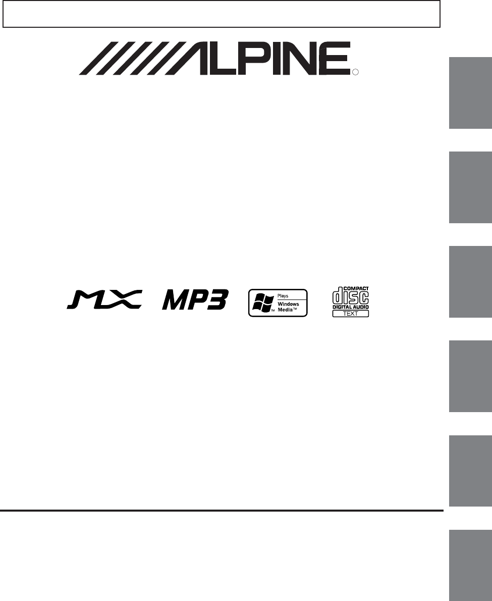 Alpine Car Stereo System CDA-9853R User Guide