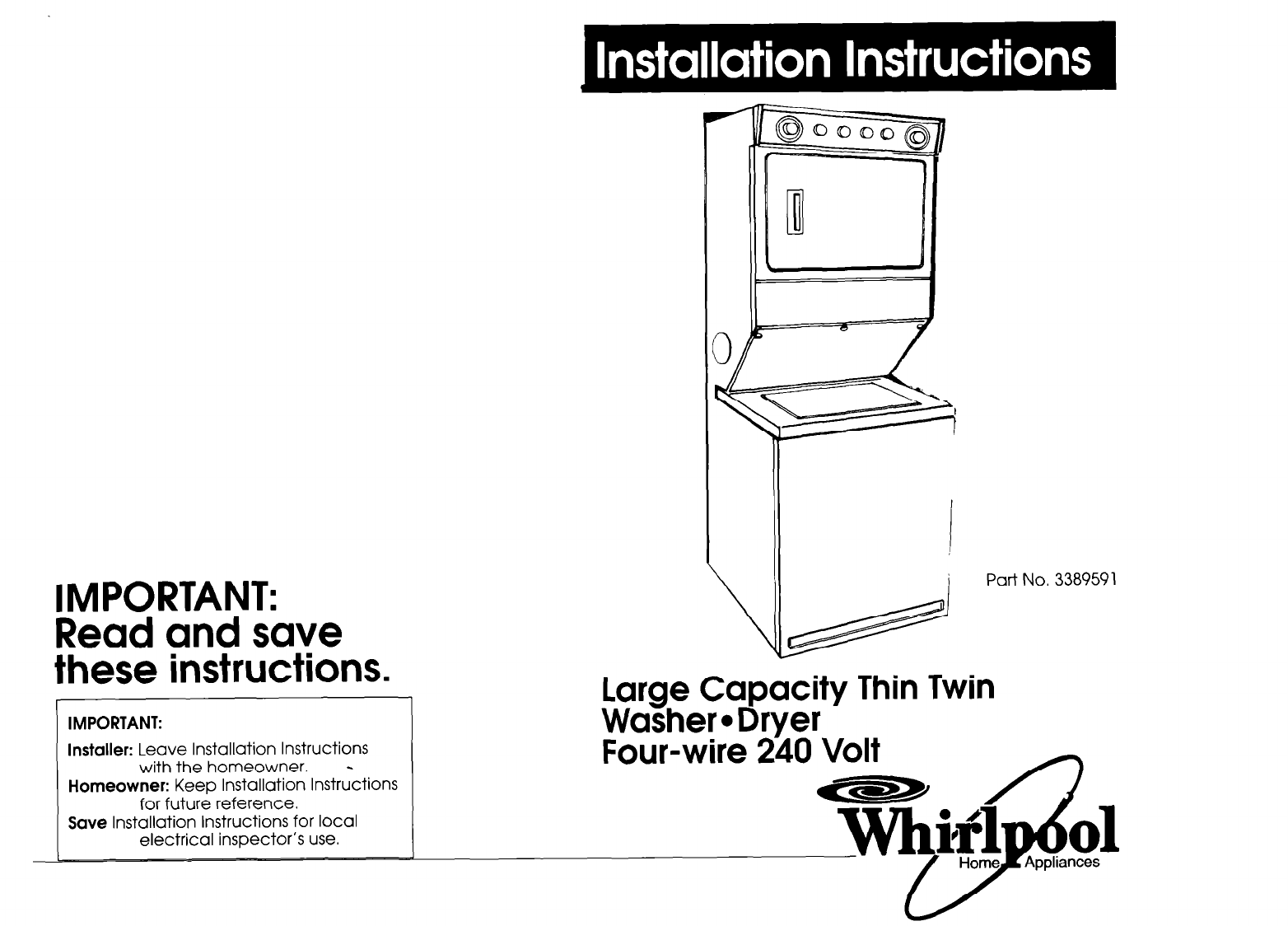 Whirlpool Washer Dryer Instructions