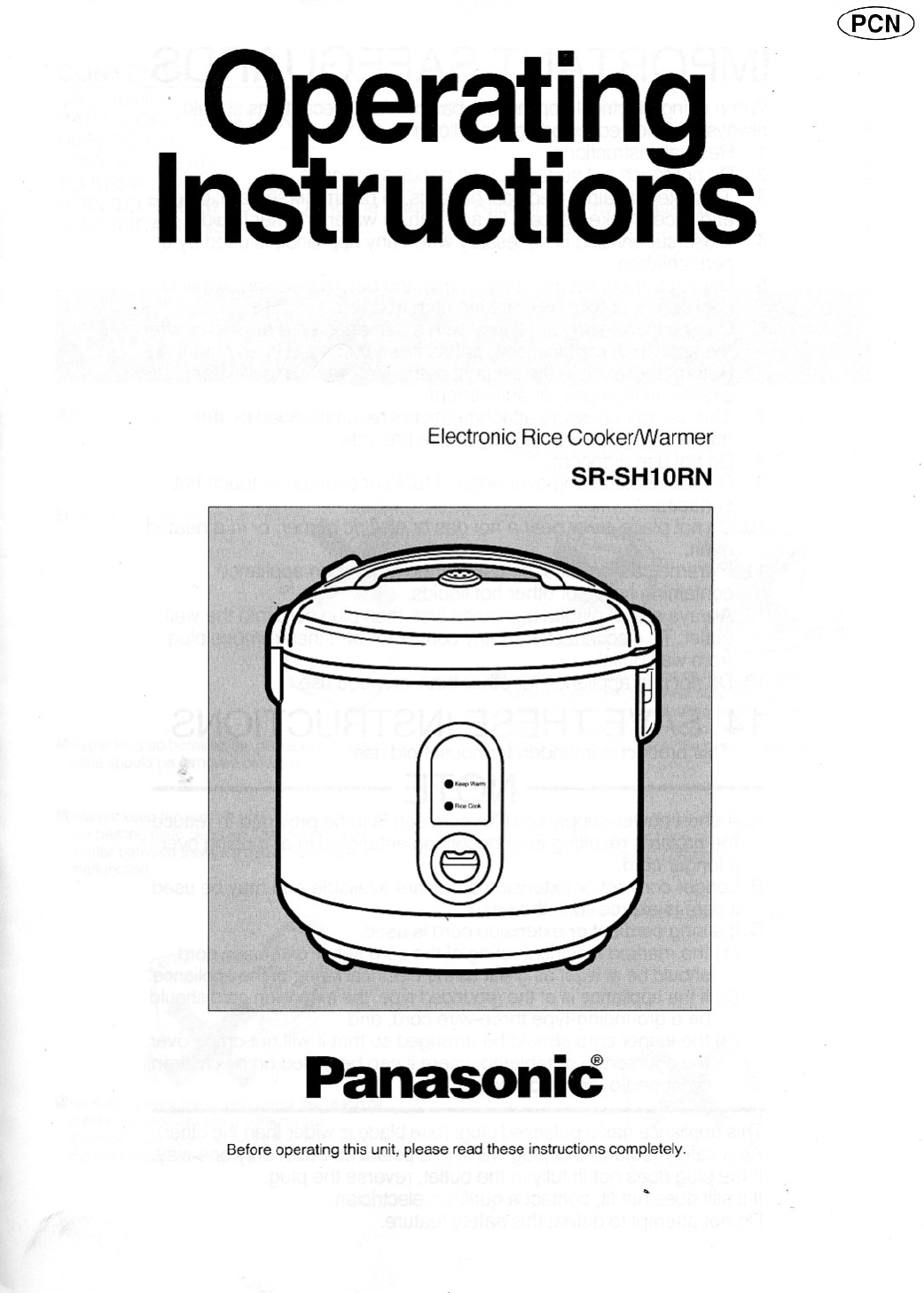 Panasonic Rice Cooker Manual Sr De103