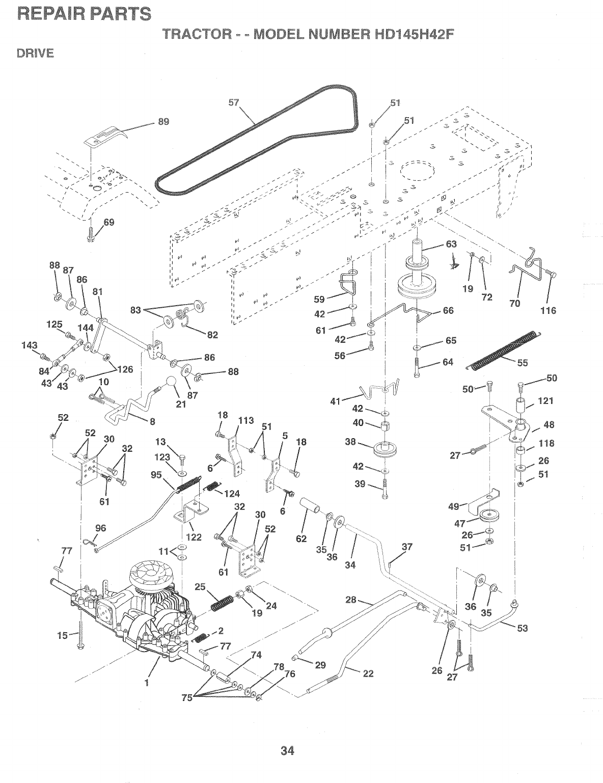 Page 34 of Poulan Lawn Mower HD145H42F User Guide