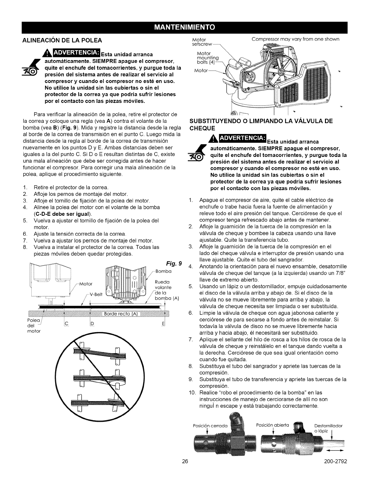 Page 26 of Craftsman Air Compressor 921.16474 User Guide