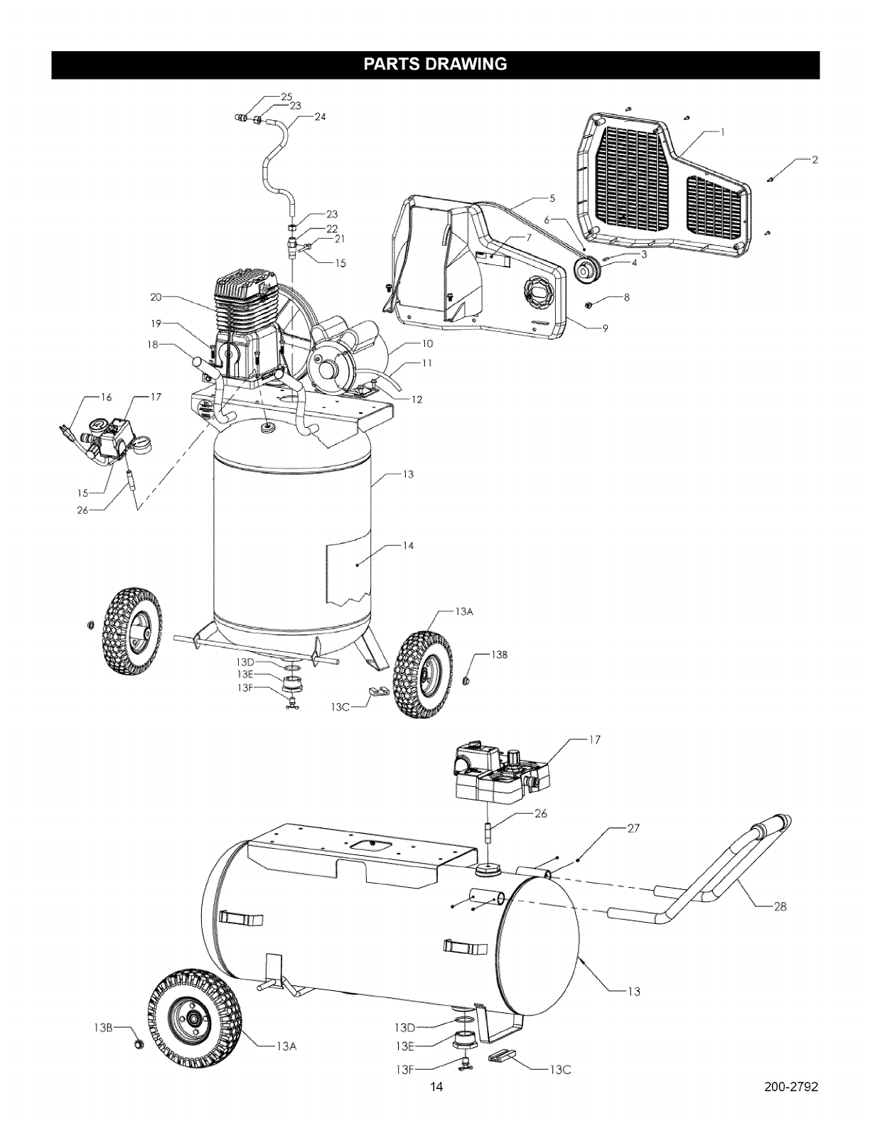 Page 14 of Craftsman Air Compressor 921.16474 User Guide