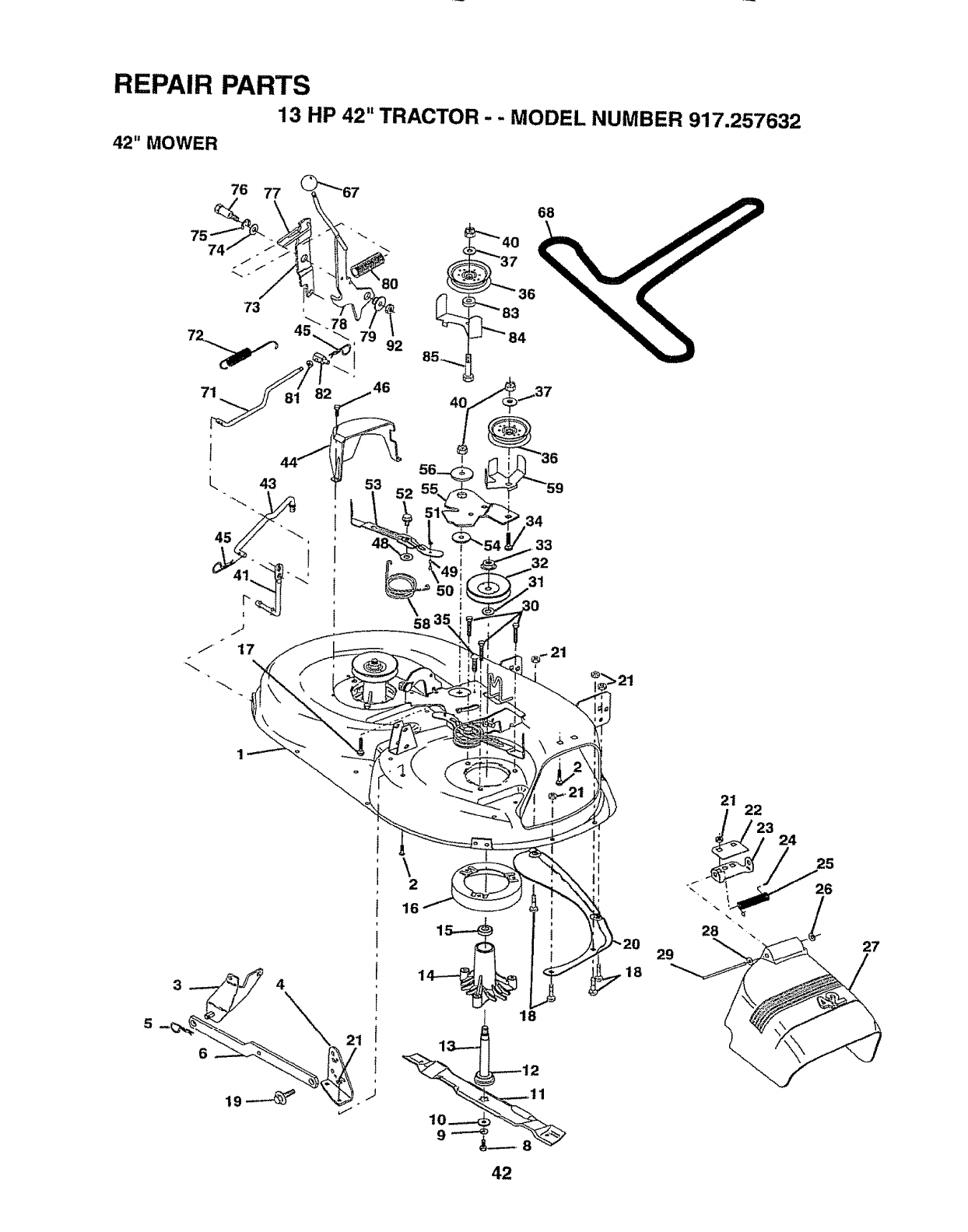 Page 42 of Sears Lawn Mower 917.257632 User Guide