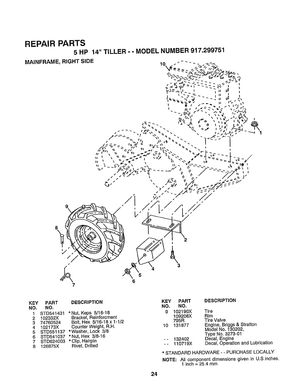 Page 24 of Craftsman Tiller 917-299751 User Guide