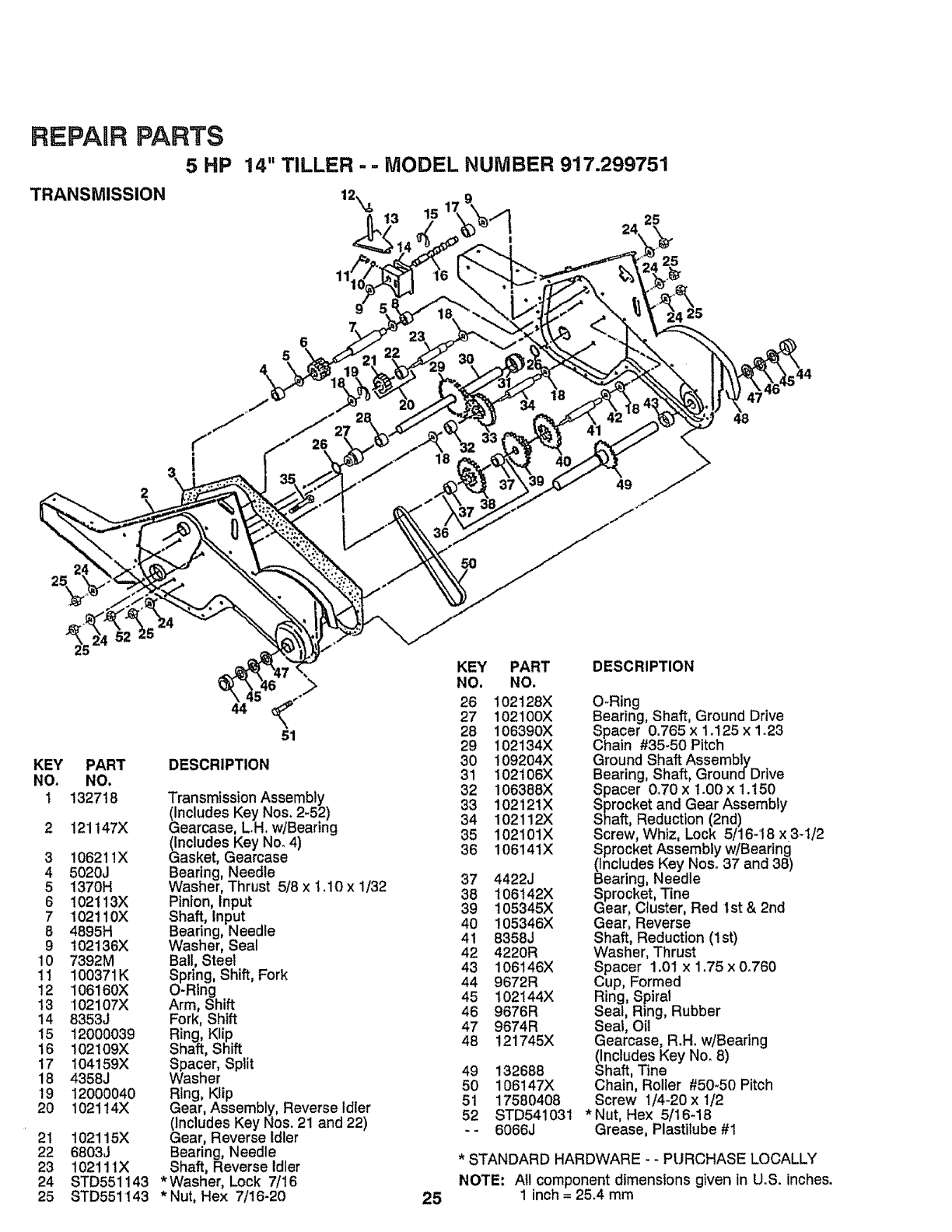 Page 25 of Craftsman Tiller 917-299751 User Guide