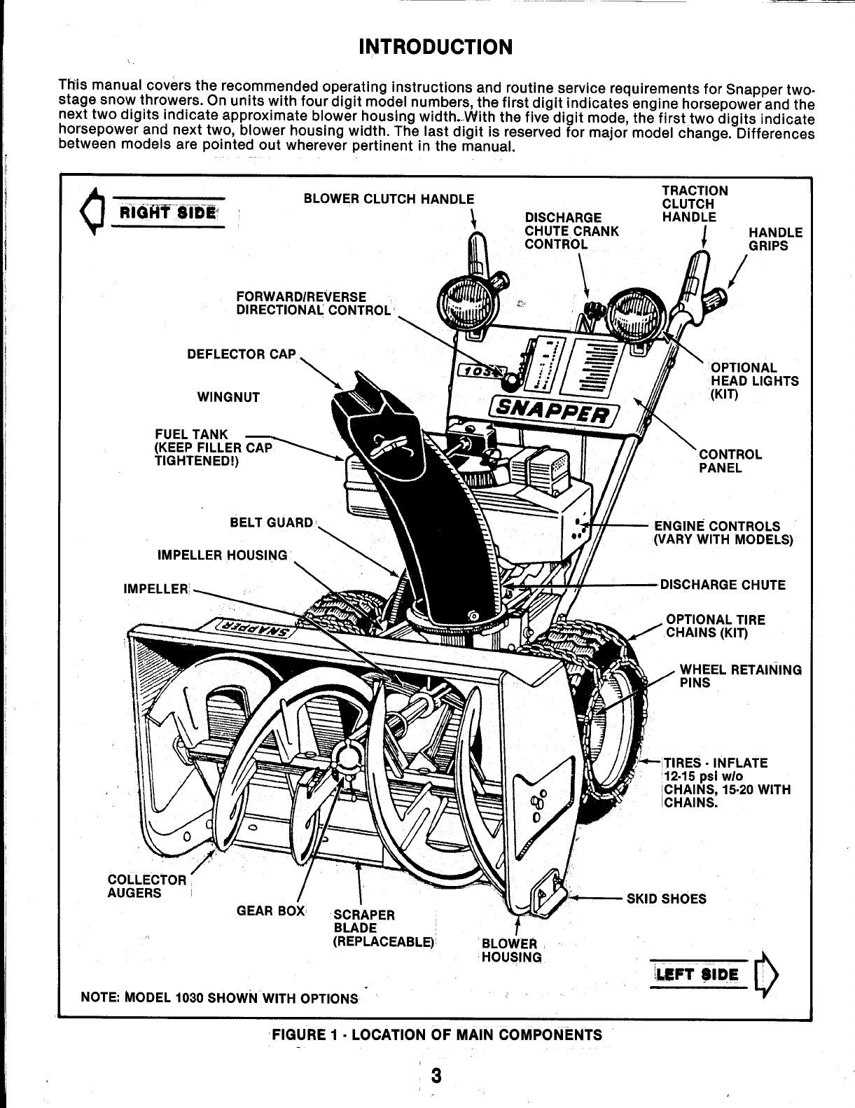 Page 3 of Snapper Snow Blower 10302 User Guide
