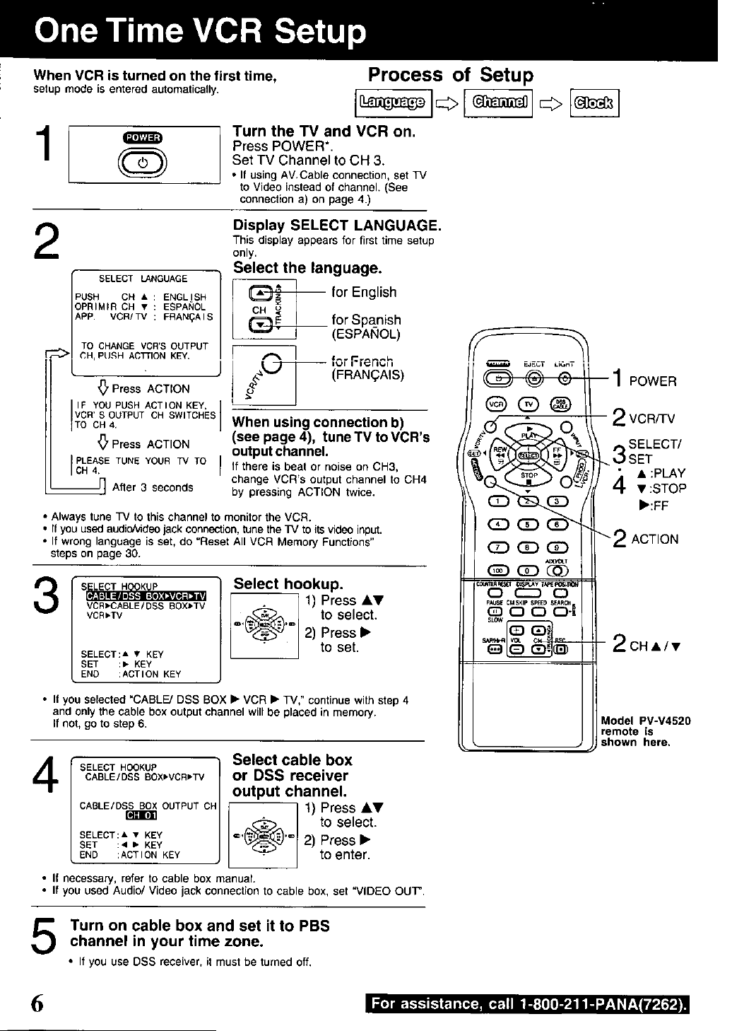 Page 6 of Panasonic VCR PV-V4520 User Guide