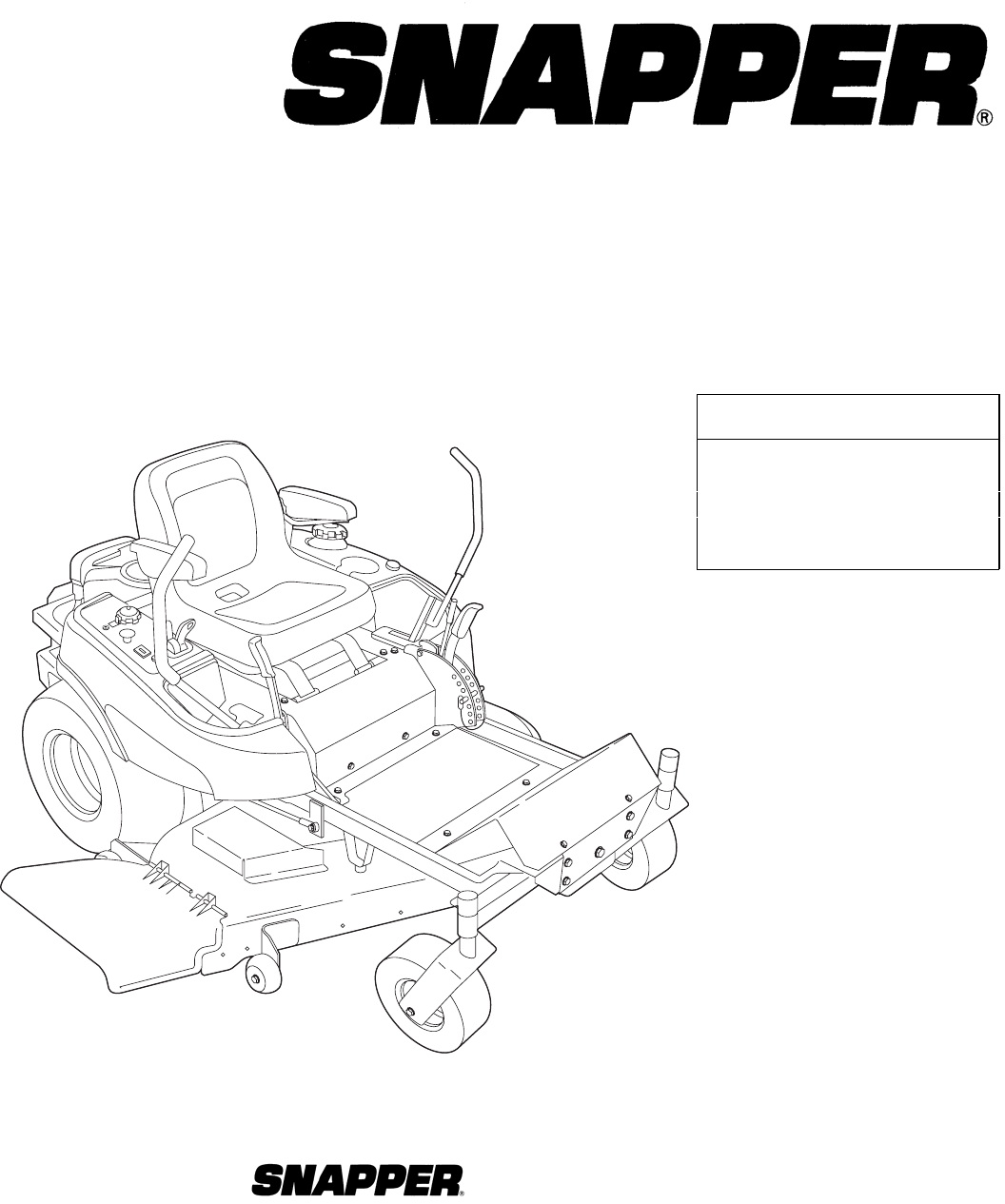 Snapper Lawn Mower ZT19441KWV (5900609) User Guide