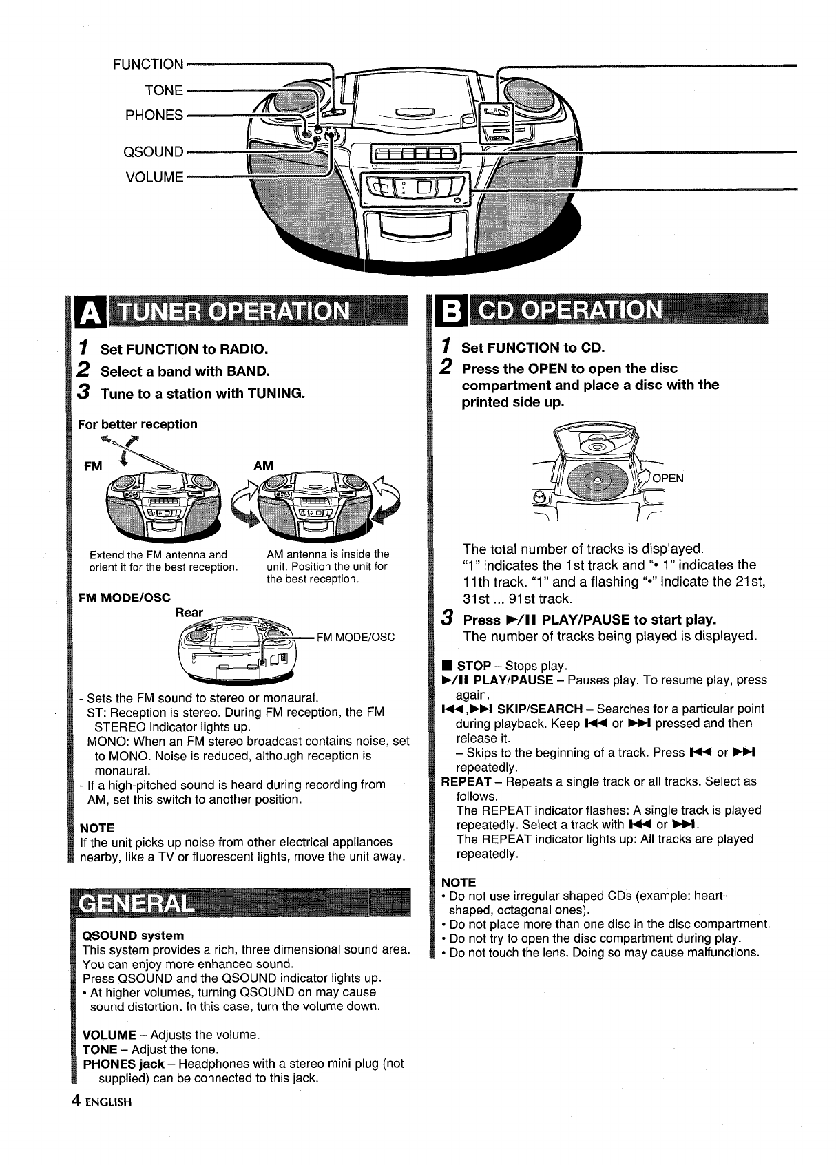 Page 4 of Aiwa CD Player CSD-ES365 User Guide