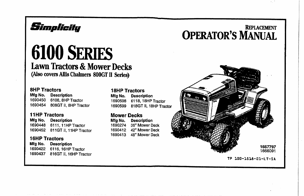 Simplicity Lawn Mower 6100 Series User Guide