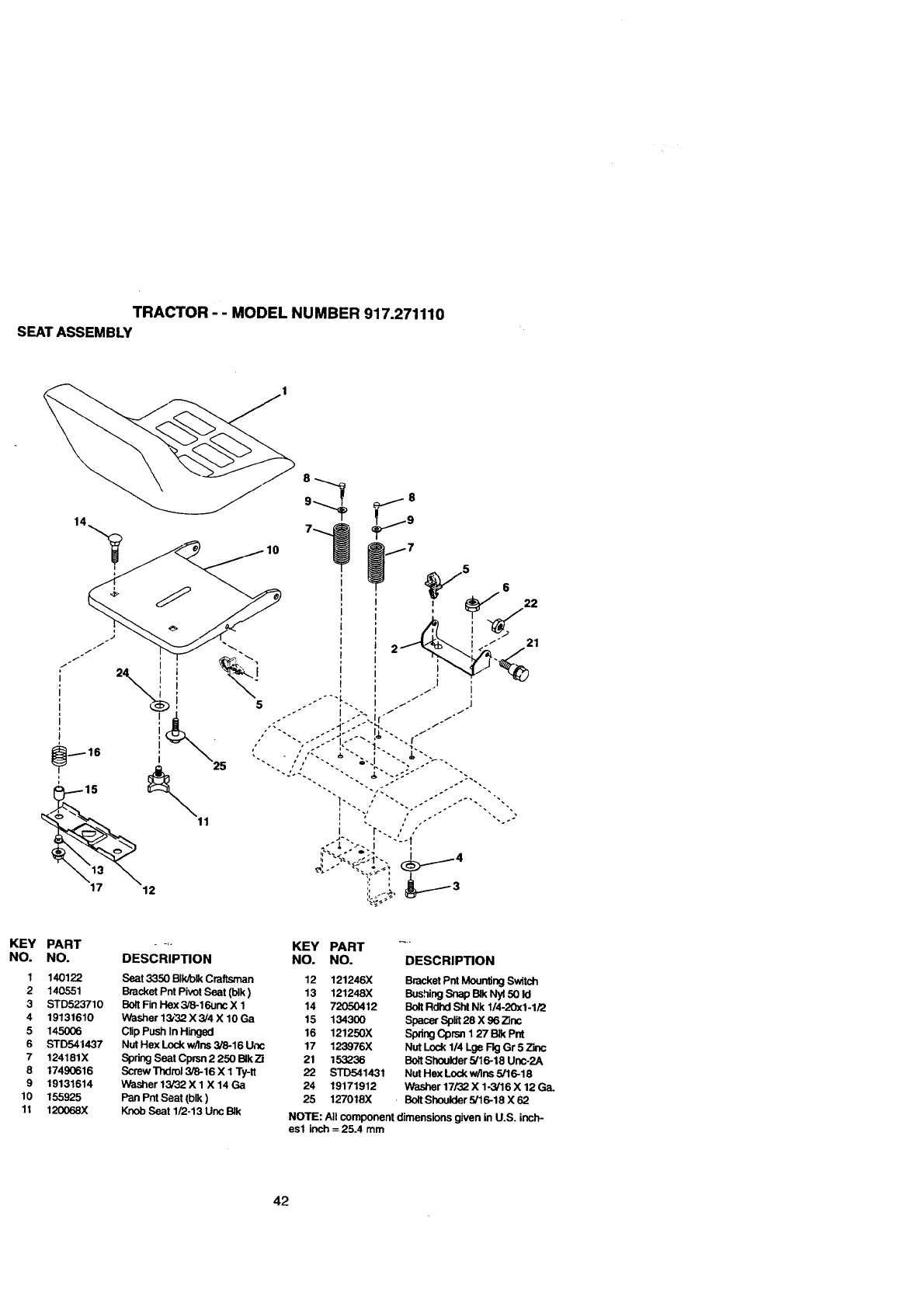 Page 42 of Craftsman Lawn Mower 917.271110 User Guide