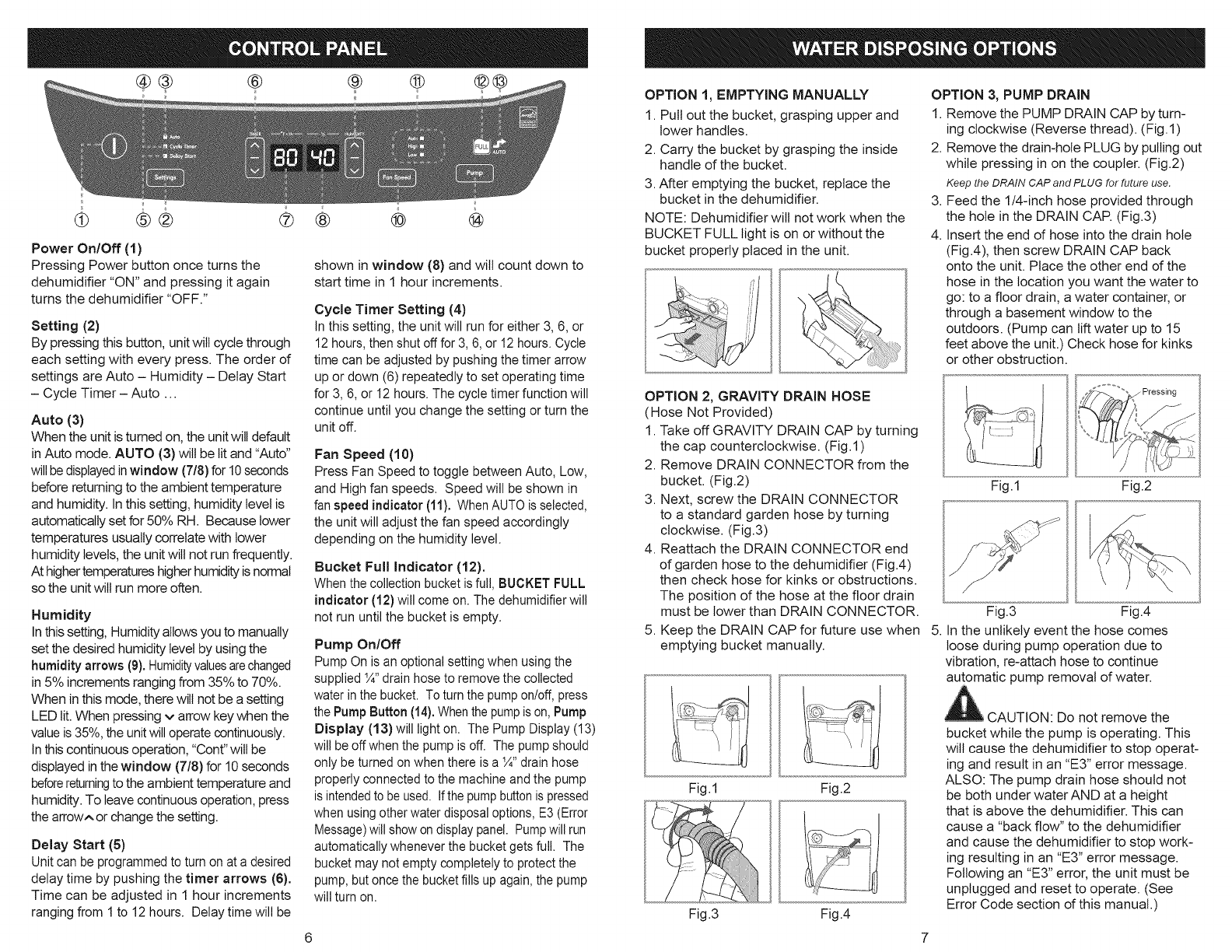 Page 4 of Kenmore Dehumidifier 251.90701 User Guide