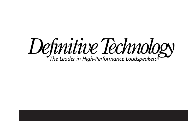 Definitive Technology Speaker C/L/R 2002 User Guide