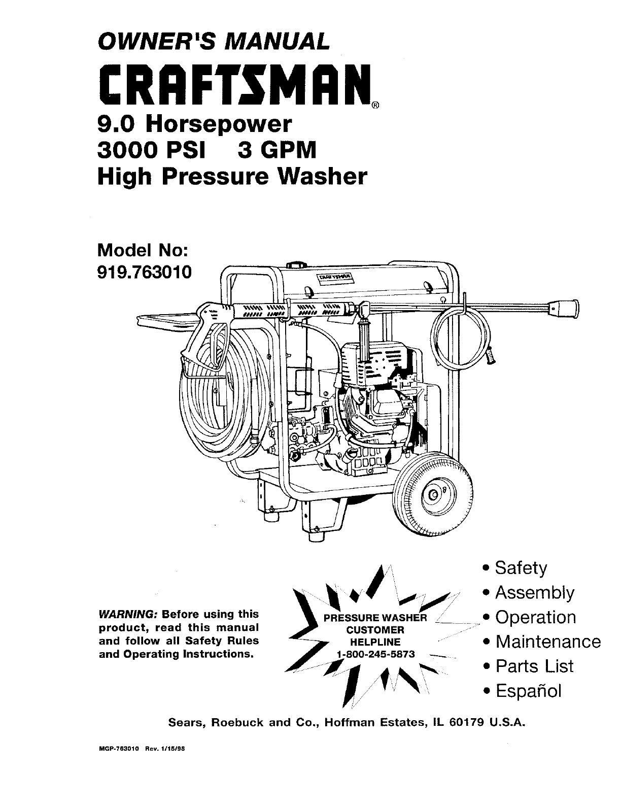 Craftsman Pressure Washer 919.763010 User Guide