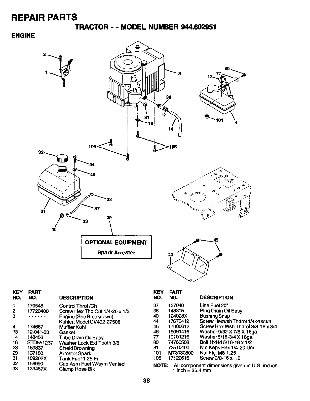 Page 38 of Craftsman Lawn Mower 944.602951 User Guide