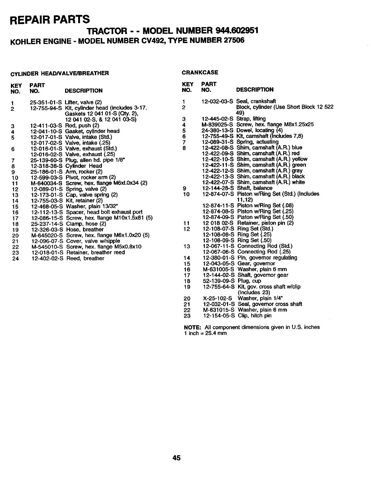 Page 45 of Craftsman Lawn Mower 944.602951 User Guide