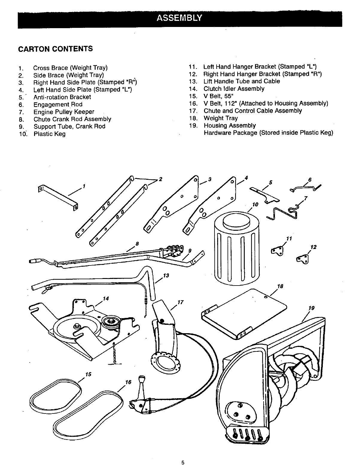 Page 5 of Craftsman Snow Blower 486.2484 User Guide
