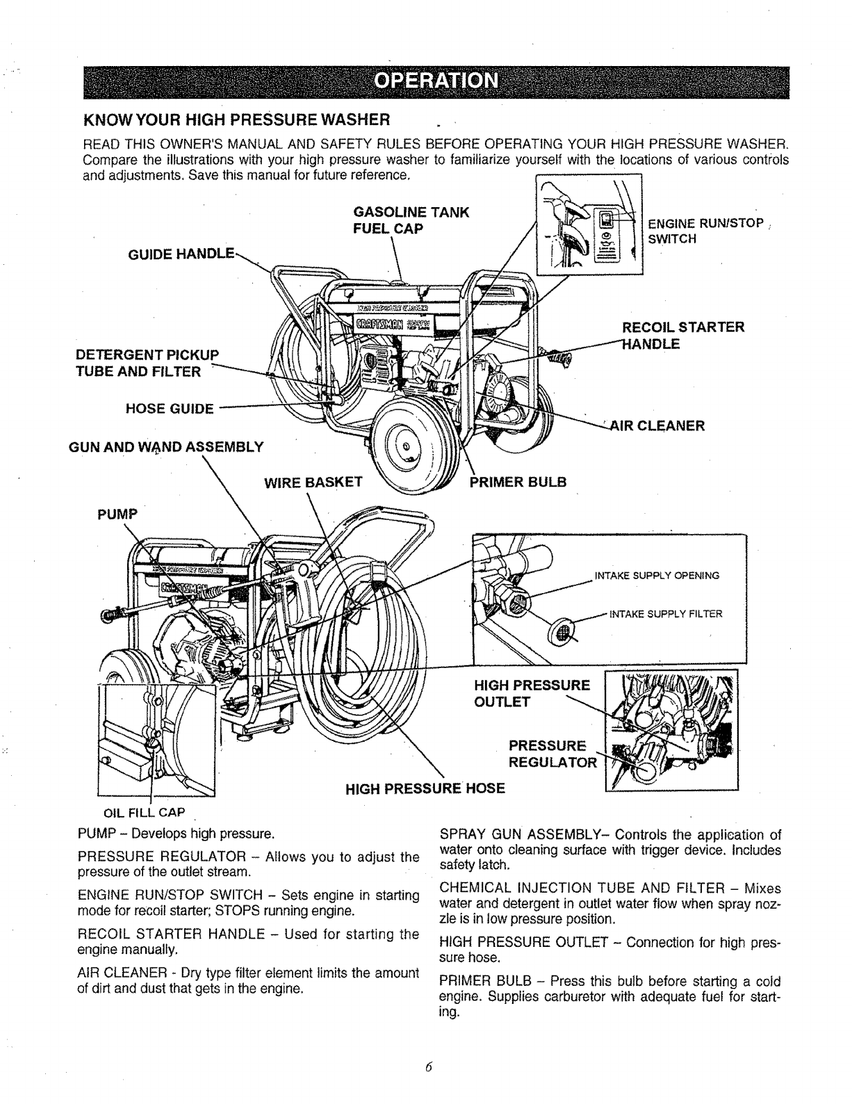 Page 6 of Craftsman Pressure Washer 580.763 User Guide
